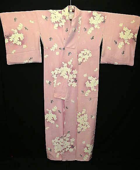 1940s Pink Silk Floral Kimono