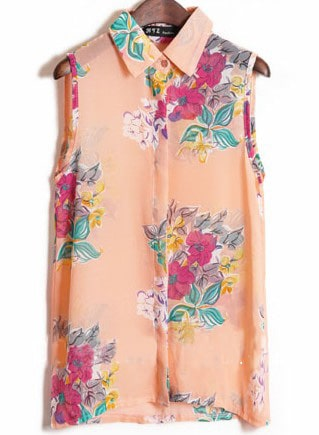 Pink Sleeveless Big Flower Print Chiffon Shirt