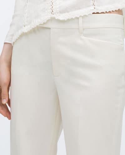 pantalón recto cropped detalle zara 12.99